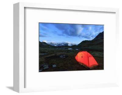 Lights of a Tent around Fenetre Lakes at Dusk, Aosta Valley-Roberto Moiola-Framed Photographic Print