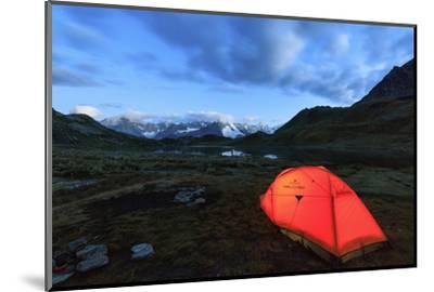 Lights of a Tent around Fenetre Lakes at Dusk, Aosta Valley-Roberto Moiola-Mounted Photographic Print