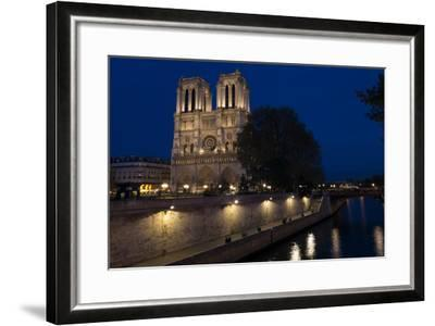 Notre Dame Cathedral and River Seine at Night, Paris, France, Europe-Peter Barritt-Framed Photographic Print