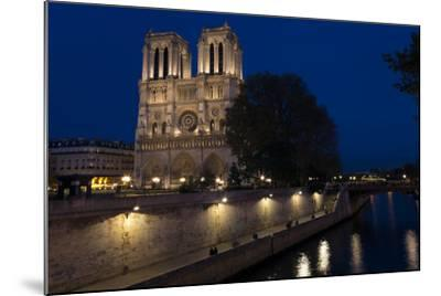 Notre Dame Cathedral and River Seine at Night, Paris, France, Europe-Peter Barritt-Mounted Photographic Print