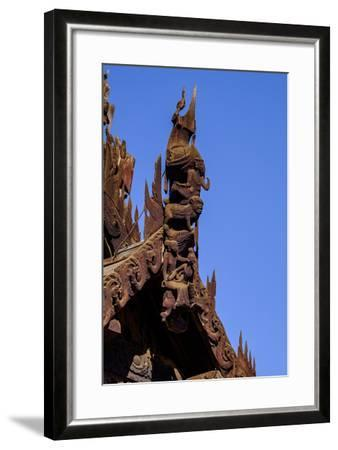 Village of Taung Be, Nat Taung Wood Monastery, Dated 13th Century, Bagan, Myanmar (Burma), Asia-Nathalie Cuvelier-Framed Photographic Print