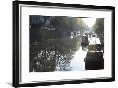 Canal Boats on the Regent's Canal, Little Venice, London, England, United Kingdom, Europe-Ethel Davies-Framed Photographic Print