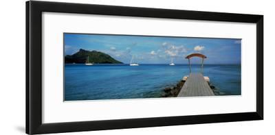 Boats in the Pacific Ocean, Tahiti, French Polynesia--Framed Photographic Print