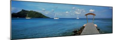 Boats in the Pacific Ocean, Tahiti, French Polynesia--Mounted Photographic Print