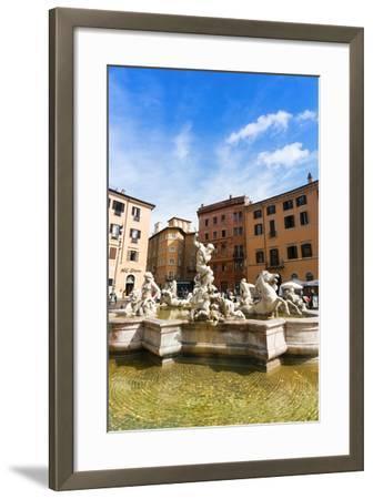 Fountain of Neptune, Piazza Navona, Rome, UNESCO World Heritage Site, Latium, Italy, Europe-Nico Tondini-Framed Photographic Print