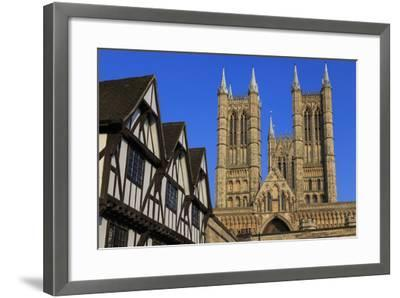 Half-Timbered Leigh-Pemberton House and Lincoln Cathedral, England-Eleanor Scriven-Framed Photographic Print