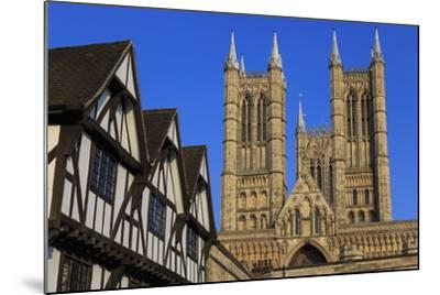 Half-Timbered Leigh-Pemberton House and Lincoln Cathedral, England-Eleanor Scriven-Mounted Photographic Print