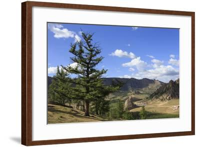 Elevated View Towards Turtle Rock and Distant Mountains, Mongolia-Eleanor Scriven-Framed Photographic Print