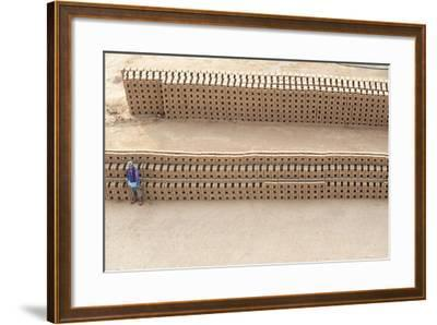 Female Brick Worker Standing Beside Hand Made Bricks Stacked to Dry before Baking, Rajasthan, India-Annie Owen-Framed Photographic Print