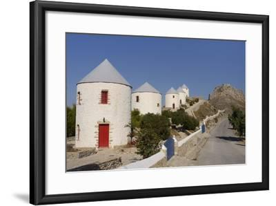 Row of Old Windmills on Pitiki Hill Below Panteli Castle, Greek Islands-Nick Upton-Framed Photographic Print