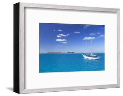 Yacht in Lagoon with Malolo Island, Mamanuca Islands, Fiji, South Pacific, Pacific-Ian Trower-Framed Photographic Print