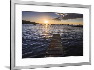 Lake Titicaca Pier at Sunset, Copacabana, Bolivia, South America-Matthew Williams-Ellis-Framed Photographic Print