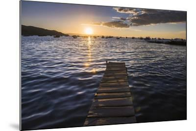 Lake Titicaca Pier at Sunset, Copacabana, Bolivia, South America-Matthew Williams-Ellis-Mounted Photographic Print