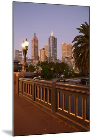 City Skyline from Princes Bridge at Dusk, Melbourne, Victoria, Australia, Pacific-Frank Fell-Mounted Photographic Print