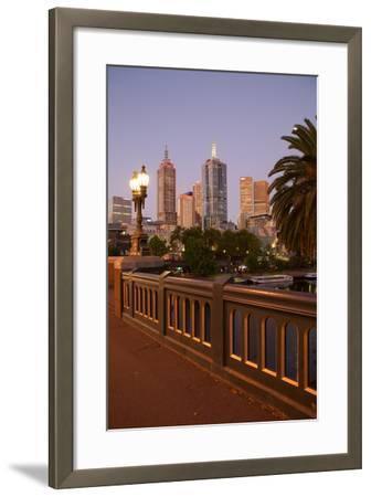 City Skyline from Princes Bridge at Dusk, Melbourne, Victoria, Australia, Pacific-Frank Fell-Framed Photographic Print