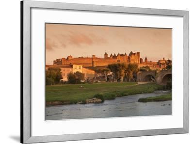 La Cite, Medieval Fortress City, Bridge over River Aude, Carcassonne, Languedoc-Roussillon, France-Markus Lange-Framed Photographic Print