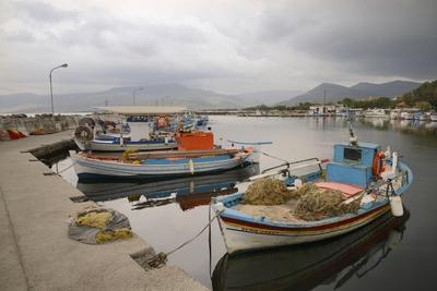 Moored Fishing Boats in Apothika Village Harbour, Greece-Nick Upton-Framed Photographic Print