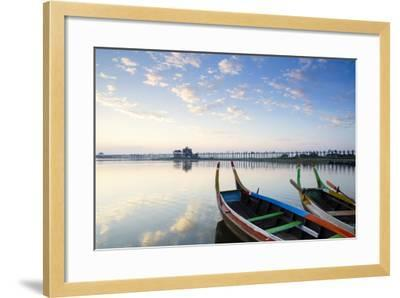 U Bein Teak Bridge and the Taungthaman Lake Near Amarapura, Mandalay, Myanmar (Burma)-Alex Robinson-Framed Photographic Print