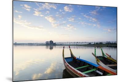 U Bein Teak Bridge and the Taungthaman Lake Near Amarapura, Mandalay, Myanmar (Burma)-Alex Robinson-Mounted Photographic Print