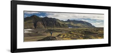 Tourist in Skaftafell National Park, South Region of Iceland (Sudurland), Iceland, Polar Regions-Matthew Williams-Ellis-Framed Photographic Print