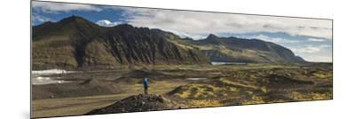 Tourist in Skaftafell National Park, South Region of Iceland (Sudurland), Iceland, Polar Regions-Matthew Williams-Ellis-Mounted Photographic Print