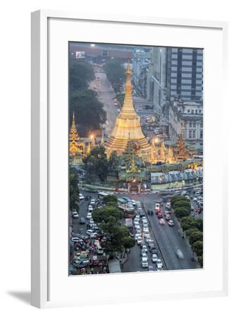 The Sule Paya Pagoda in Rushing Traffic, Downtown Yangon, Myanmar (Burma), Southeast Asia-Alex Robinson-Framed Photographic Print