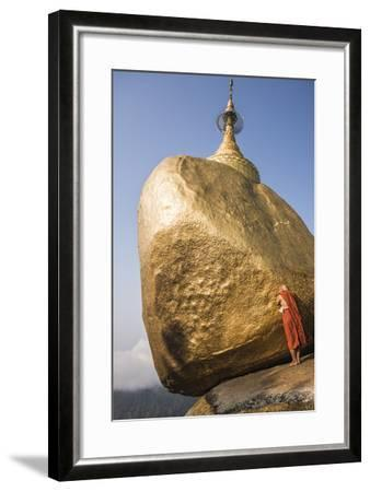 Buddhist Monk Praying at Golden Rock (Kyaiktiyo Pagoda), Mon State, Myanmar (Burma), Asia-Matthew Williams-Ellis-Framed Photographic Print