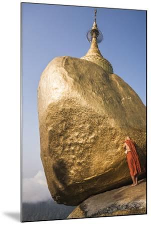 Buddhist Monk Praying at Golden Rock (Kyaiktiyo Pagoda), Mon State, Myanmar (Burma), Asia-Matthew Williams-Ellis-Mounted Photographic Print
