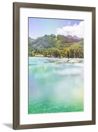 Paddleboarding in Muri Lagoon with Rarotonga in the Background, Cook Islands, Pacific-Matthew Williams-Ellis-Framed Photographic Print