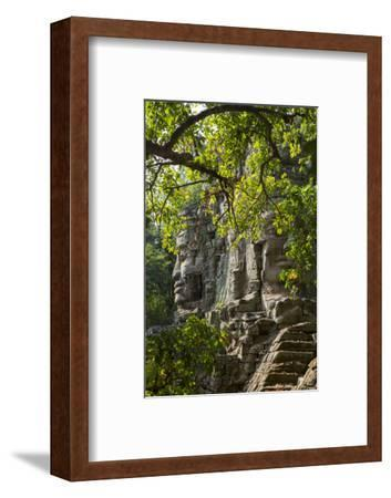 Buddha Face on the Western Gate of Angkor Thom, Siem Reap, Cambodia, Southeast Asia-Alex Robinson-Framed Photographic Print