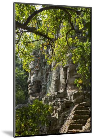 Buddha Face on the Western Gate of Angkor Thom, Siem Reap, Cambodia, Southeast Asia-Alex Robinson-Mounted Photographic Print