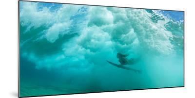Female Surfer Pushes under a Wave While Surfing, Clansthal, South Africa--Mounted Photographic Print