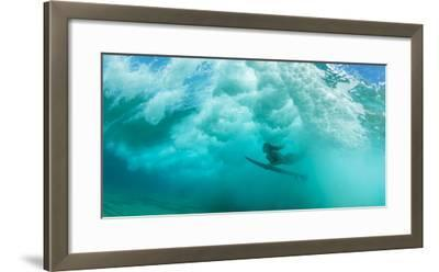 Female Surfer Pushes under a Wave While Surfing, Clansthal, South Africa--Framed Photographic Print
