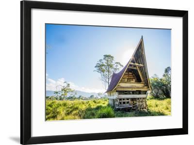Traditional Batak House in Lake Toba, Sumatra, Indonesia, Southeast Asia-John Alexander-Framed Photographic Print