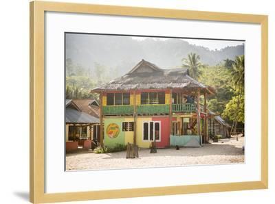 Rasta (Rastafarian) Coloured Beachfront Accommodation at Sungai Pinang, Indonesia-Matthew Williams-Ellis-Framed Photographic Print