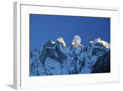 The Moon Appears Behind the Snowy Mountains Illuminating the Peaks-Roberto Moiola-Framed Photographic Print