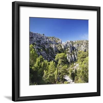 People Hiking Through Rocky Landscape of Les Calanques, Southern France-Markus Lange-Framed Photographic Print