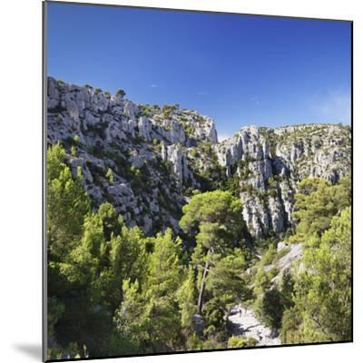 People Hiking Through Rocky Landscape of Les Calanques, Southern France-Markus Lange-Mounted Photographic Print