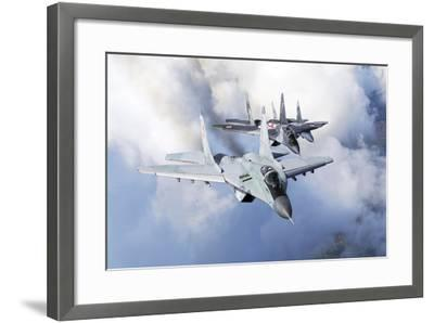 Bulgarian and Polish Air Force Mig-29S Planes Flying over Bulgaria-Stocktrek Images-Framed Photographic Print