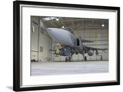 A Hungarian Air Force Jas-39 Gripen in the Hangar-Stocktrek Images-Framed Photographic Print