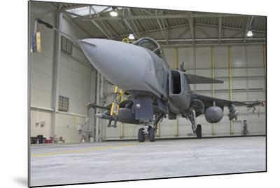 A Hungarian Air Force Jas-39 Gripen in the Hangar-Stocktrek Images-Mounted Photographic Print