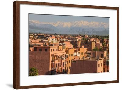 Marrakech Panorama, with Atlas Mountains in the Backgroud, Marrakesh, Morocco, North Africa, Africa-Guy Thouvenin-Framed Photographic Print