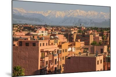 Marrakech Panorama, with Atlas Mountains in the Backgroud, Marrakesh, Morocco, North Africa, Africa-Guy Thouvenin-Mounted Photographic Print