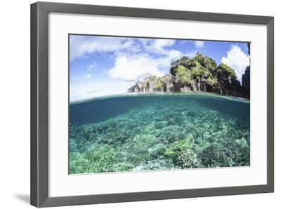 A Beautiful Coral Reef Grows Near a Set of Limestone Islands in Indonesia-Stocktrek Images-Framed Photographic Print