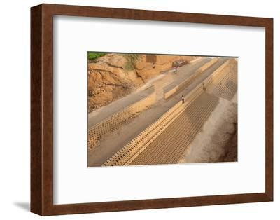 Hand Made Bricks Laid Out on the Ground to Dry before Baking, Northeast of Jaipur, Rajasthan, India-Annie Owen-Framed Photographic Print