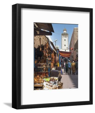 Grand Mosque and Street Scene in the Medina, Essaouira, Morocco, North Africa, Africa-Charles Bowman-Framed Photographic Print