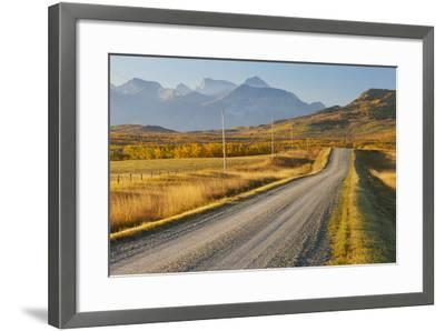Country Road Through a Mountainous Landscape, Near Twin Butte, Alberta, Canada, North America-Miles Ertman-Framed Photographic Print