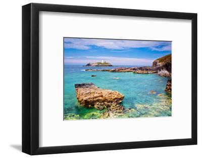 Godrevy Lighthouse, Cornwall, England, United Kingdom, Europe-Kav Dadfar-Framed Photographic Print