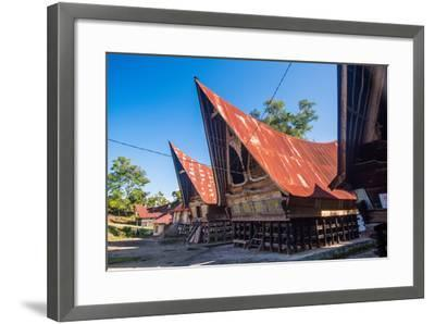Traditional Batak House in Lake Toba, Sumatra, Indonesia, Southeast Asia-John Alexander-Framed Photographic Print