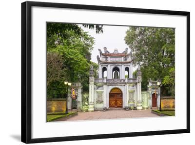 Temple of Literature Gate at Dusk, Dong Da District, Hanoi, Vietnam, Indochina, Southeast Asia-Jason Langley-Framed Photographic Print